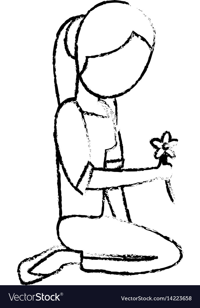 Mom with flower decoration sketch