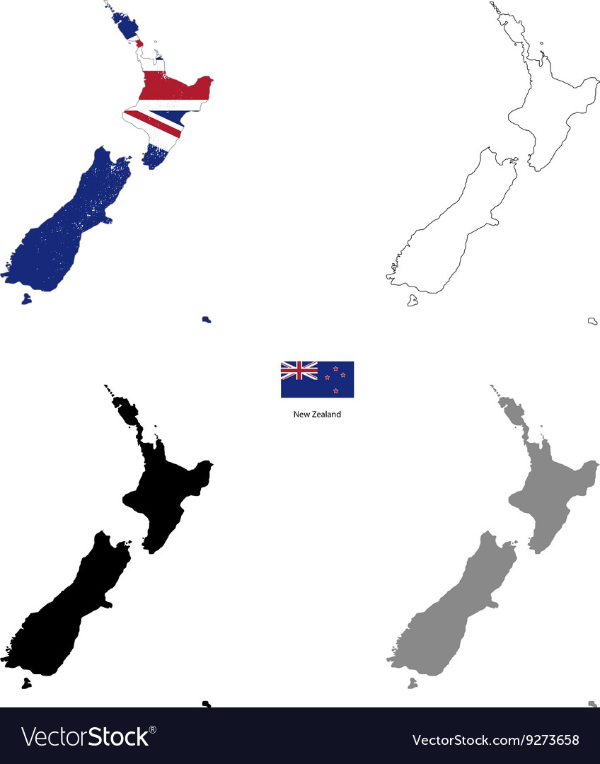 New Zealand country black silhouette and with flag
