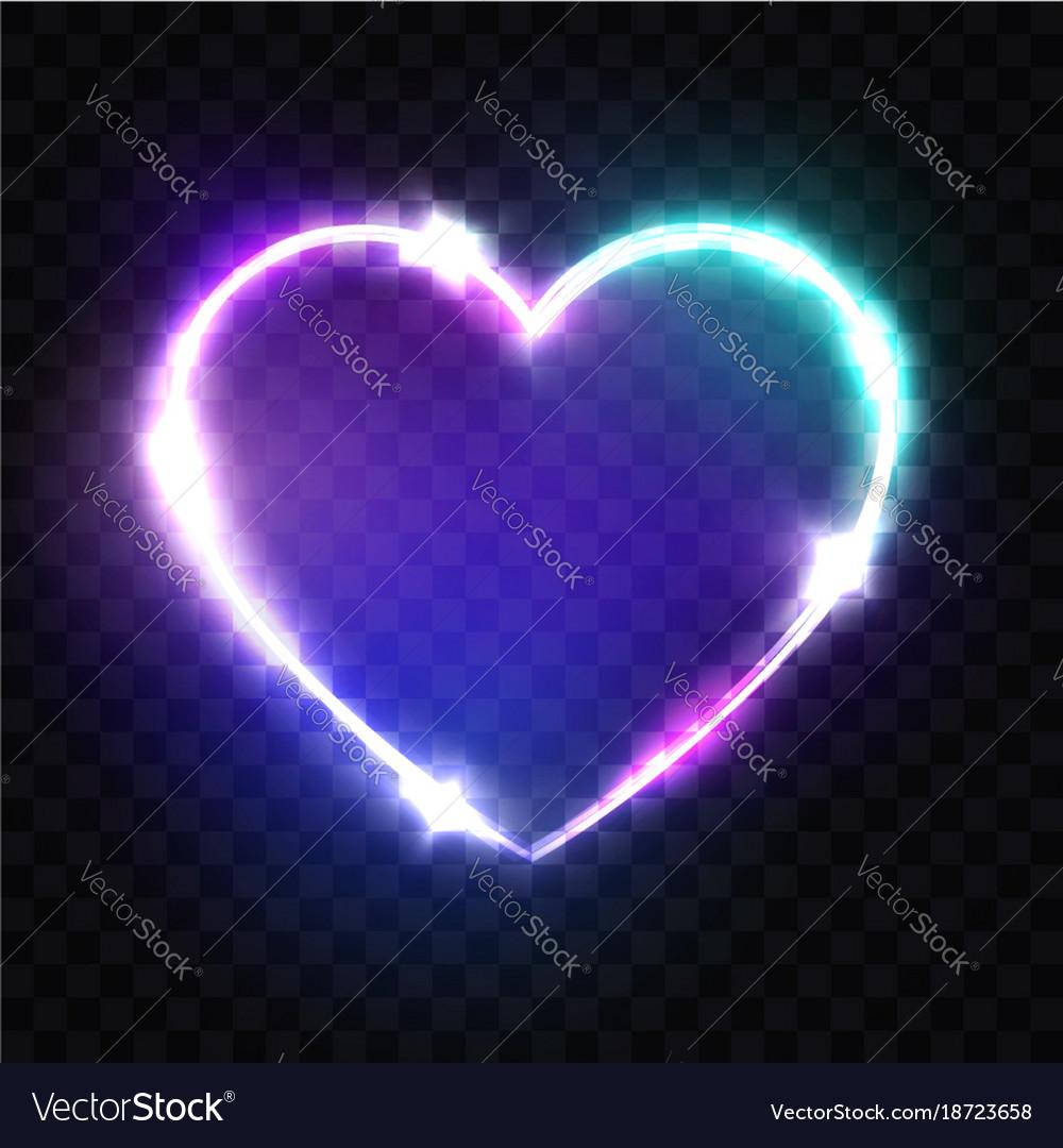Night club neon heart sign retro light signboard