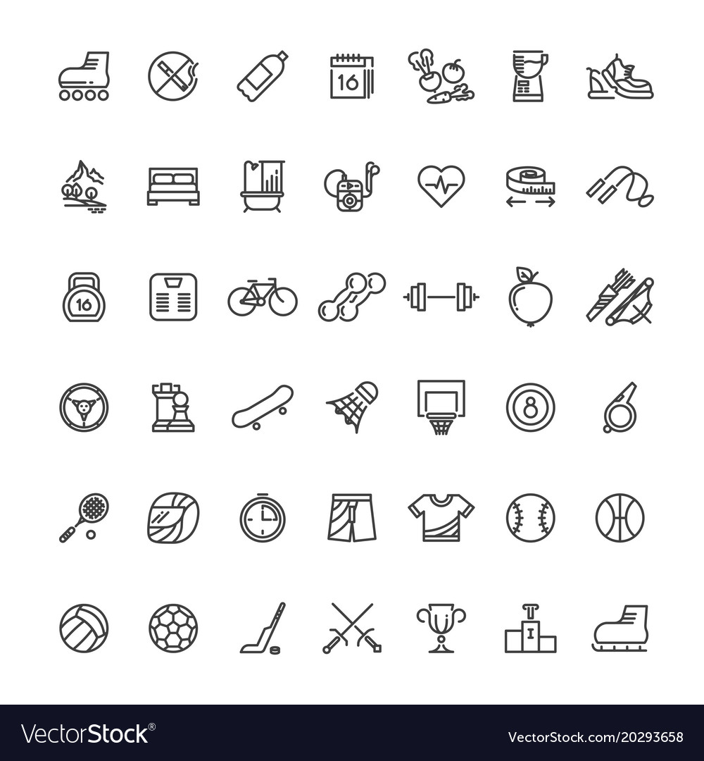 Sports fitness outline symbols sports equipment vector image