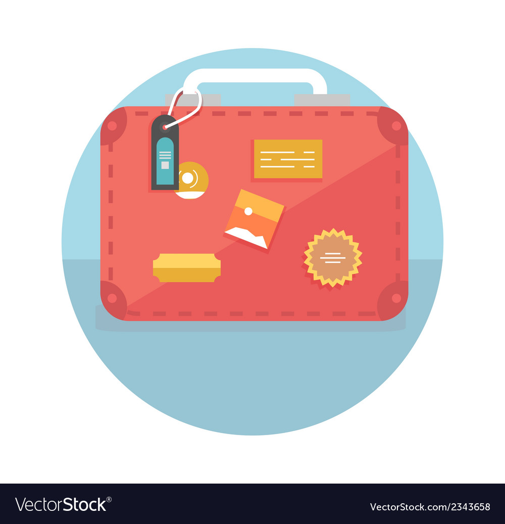 suitcase with travel stickers royalty free vector image