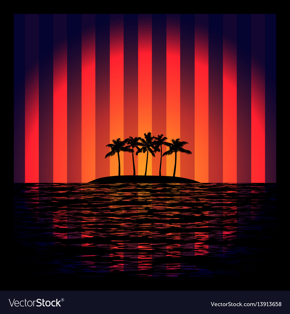 Tropical island with neon strips