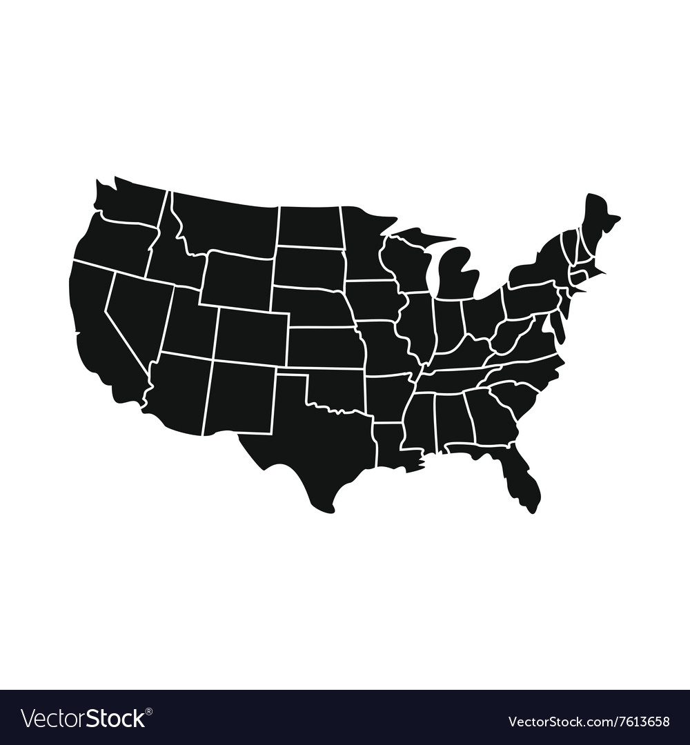USA map with states icon Royalty Free Vector Image