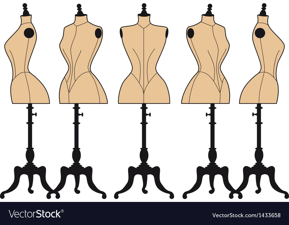 Vintage fashion mannequins set vector image