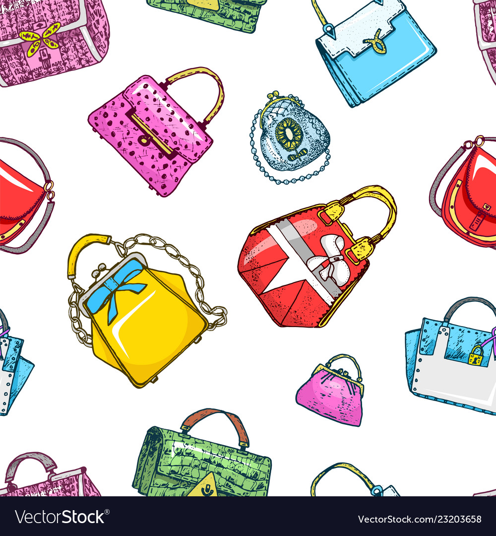 Women bag seamless pattern vintage style hand