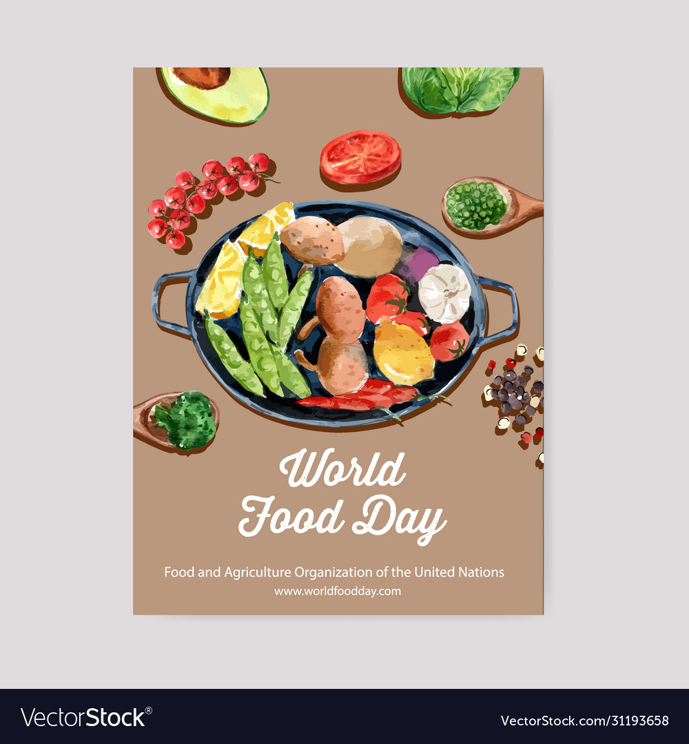 World Food Day Poster Design With Avocado Peas Vector Image