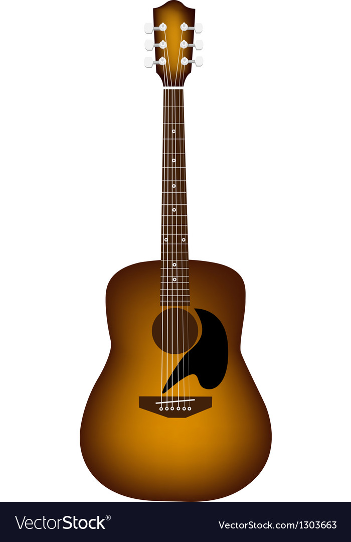 A Beautiful Acoustic Guitar On White Background Vector Image
