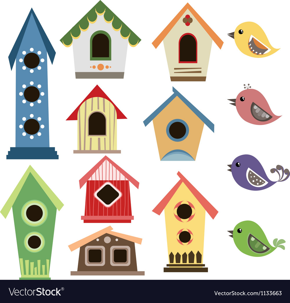 Abstract birdhouse set with birds