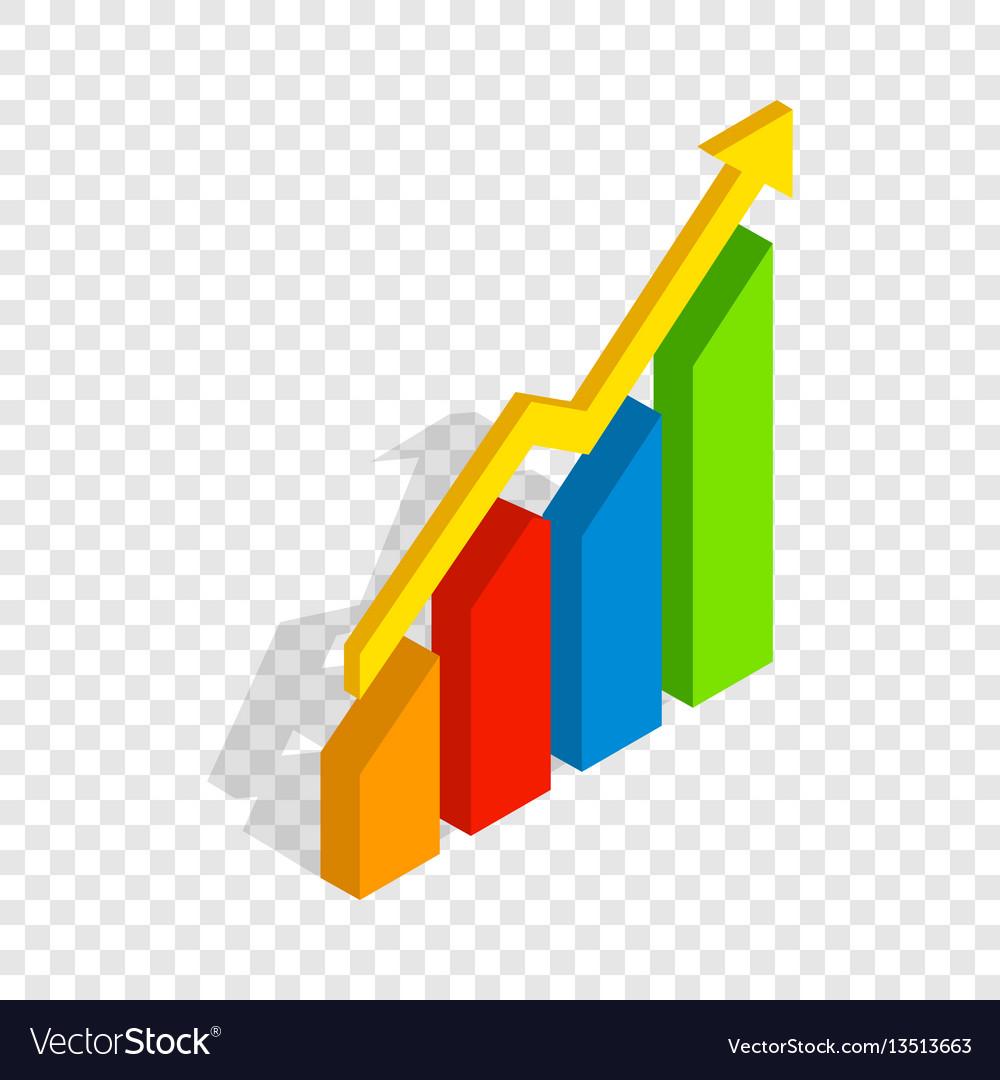Chart arrow up isometric icon