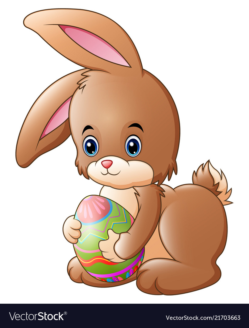 Cute little bunny holding decorated easter egg