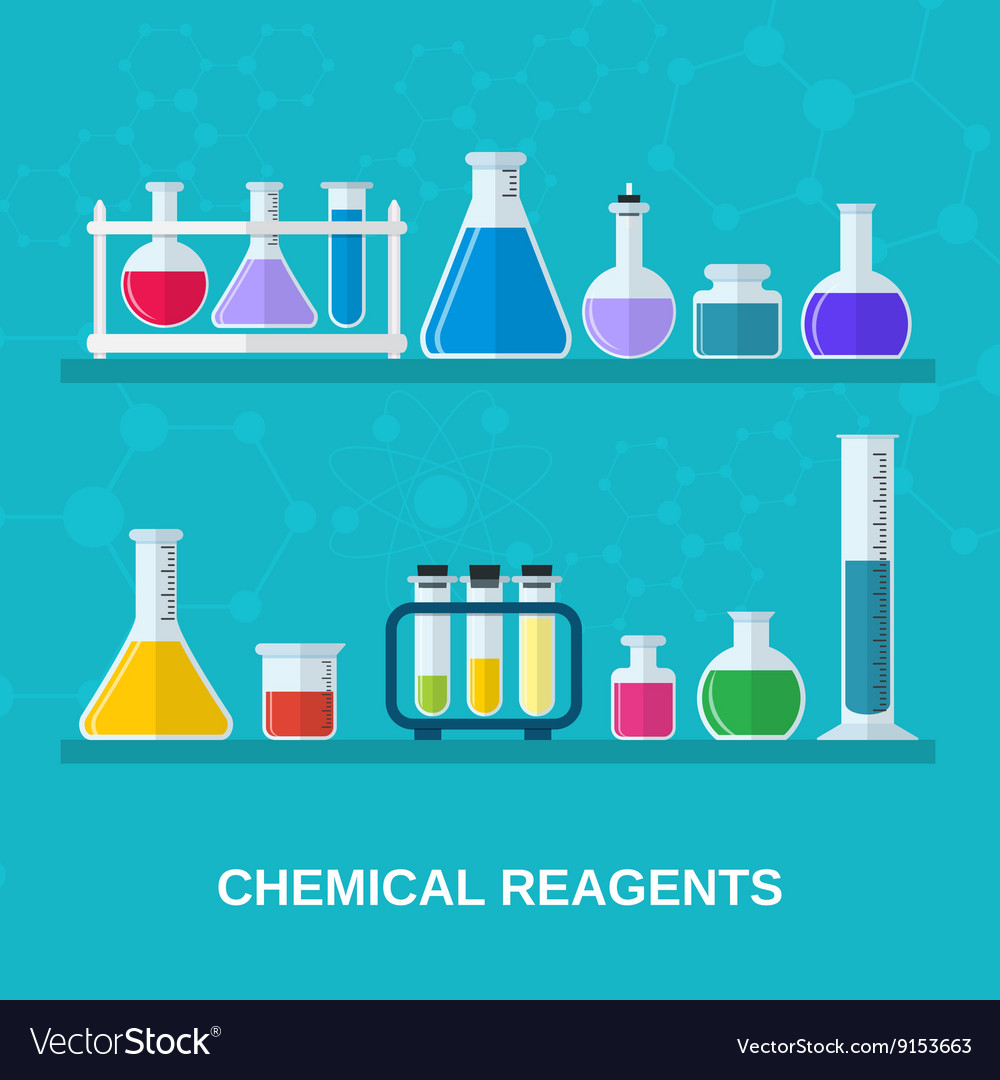 Flasks with colored liquids vector image