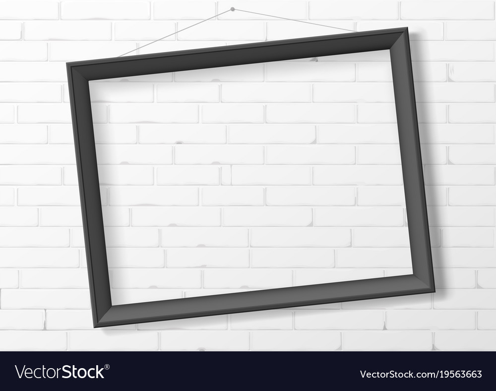 Horizontal black empty frame from wood Royalty Free Vector