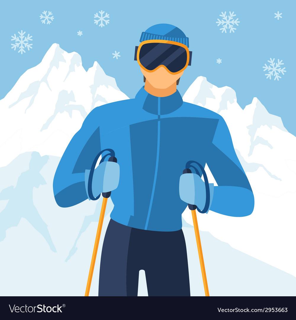 Man skier on mountain winter landscape background