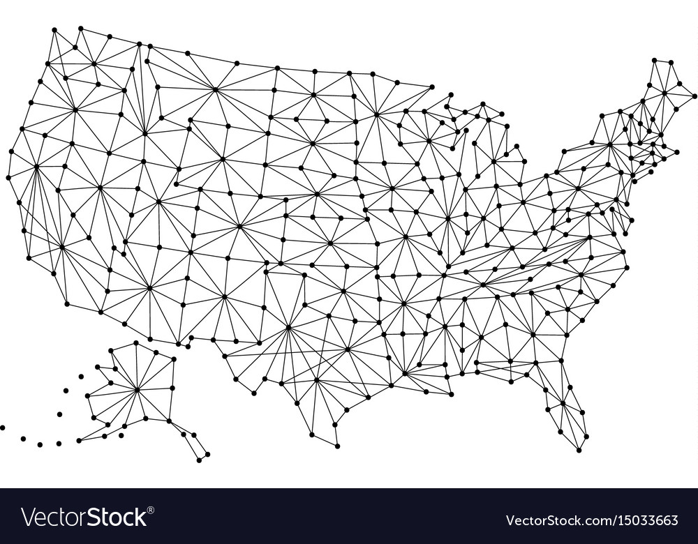 Map of united states of america from polygonal