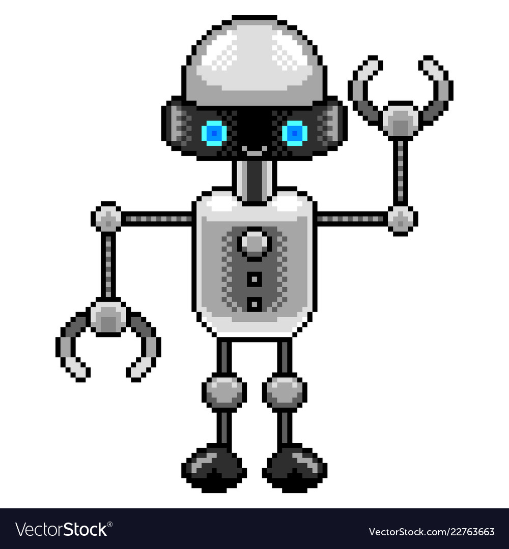 Pixel small robot detailed isolated