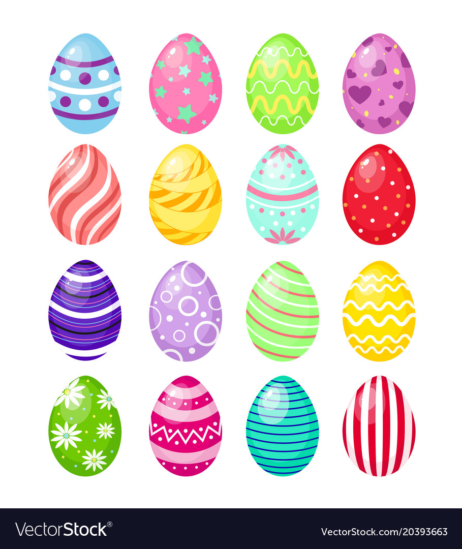 Set of color easter eggs with