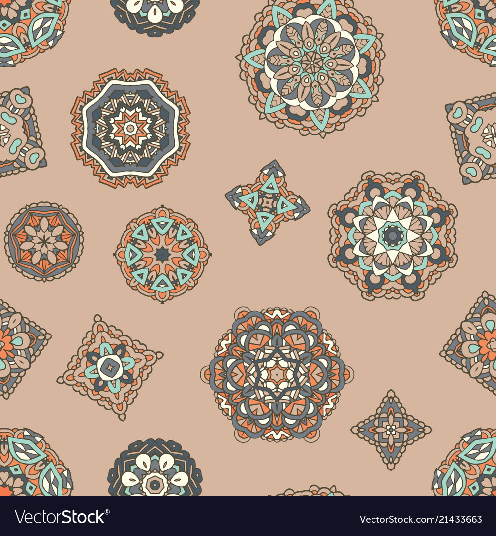 Vintage seamless pattern with mandala ornament