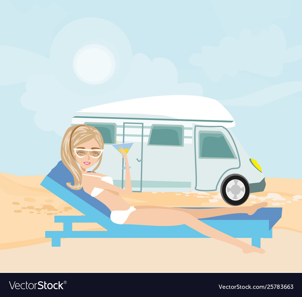 Woman relaxes in front camper van
