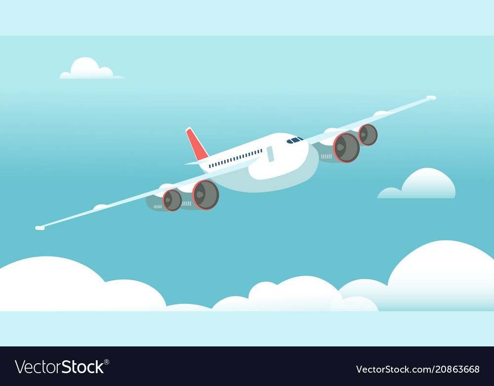 Airplane in flight with white clouds and blue sky