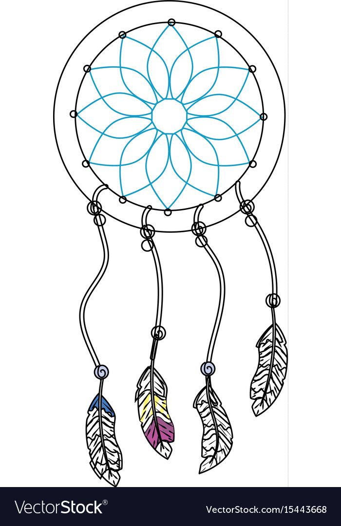 Beauty dream catcher with feathers design vector image