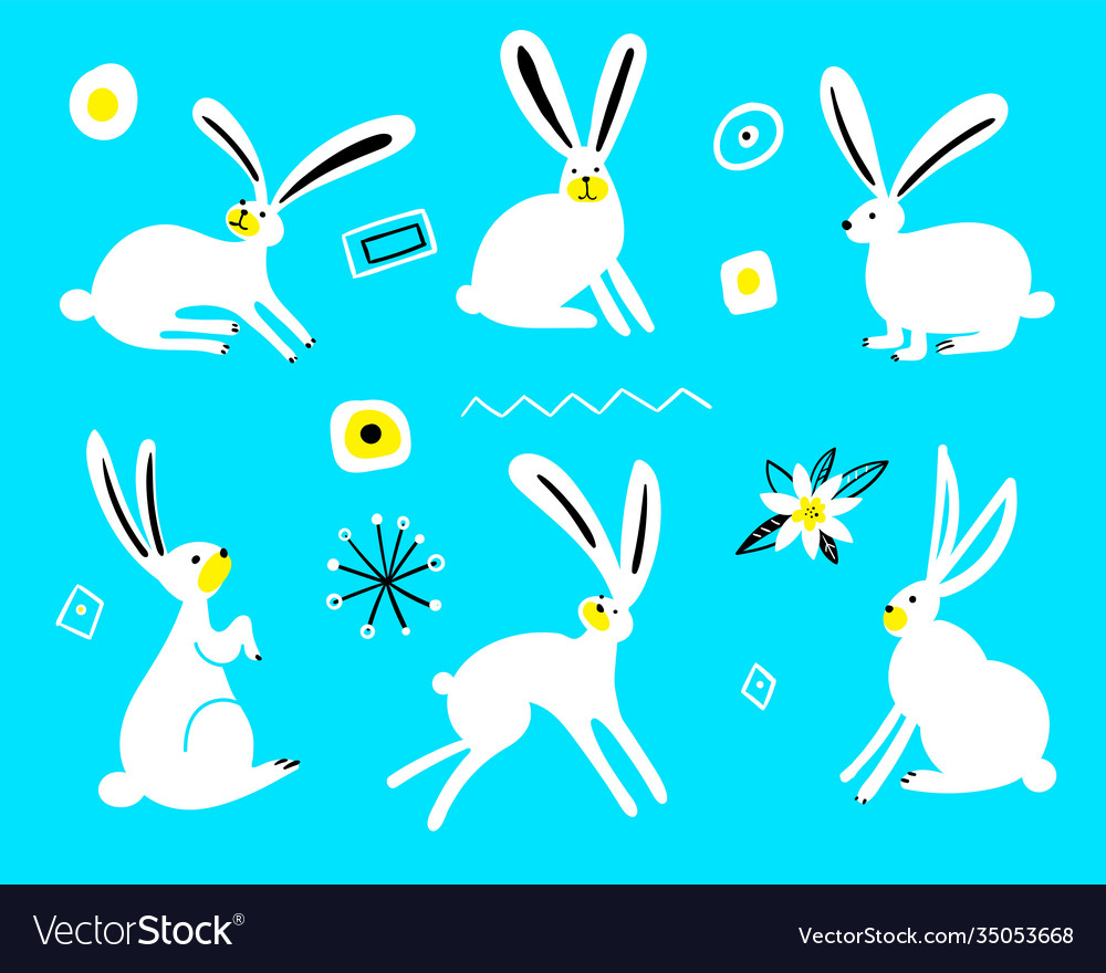 Cute rabbits isolated on a blue background set