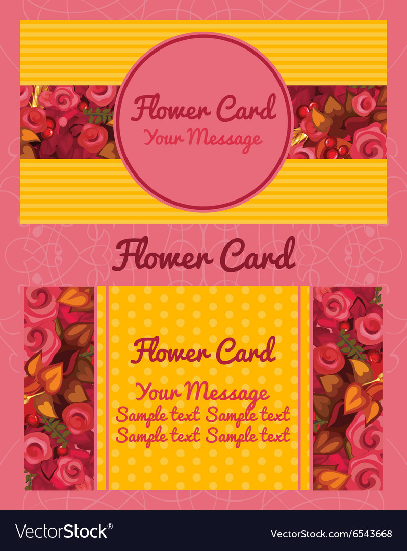 Flower design horizontal business card name card