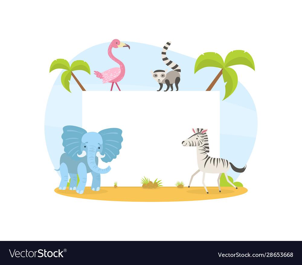 Jungle animals with blank banner elephant zebra