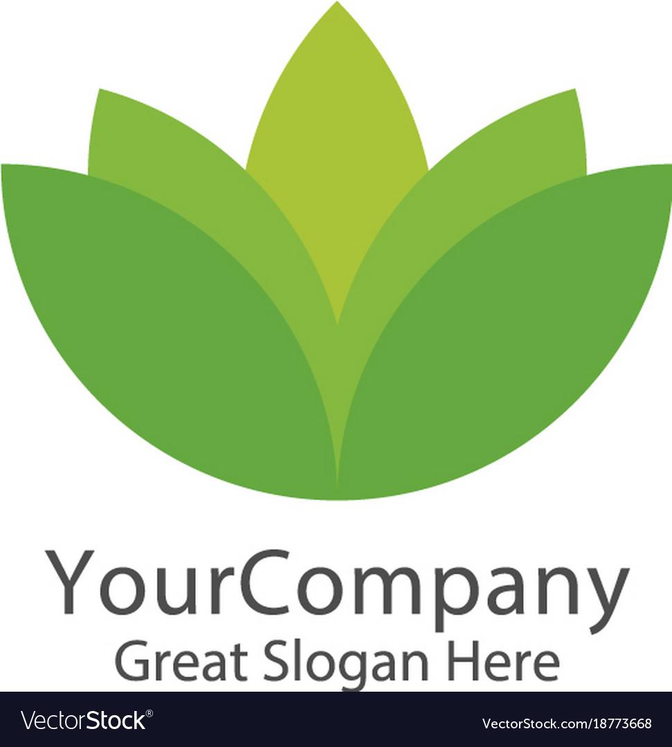 Lotus logo icon green natural logo template