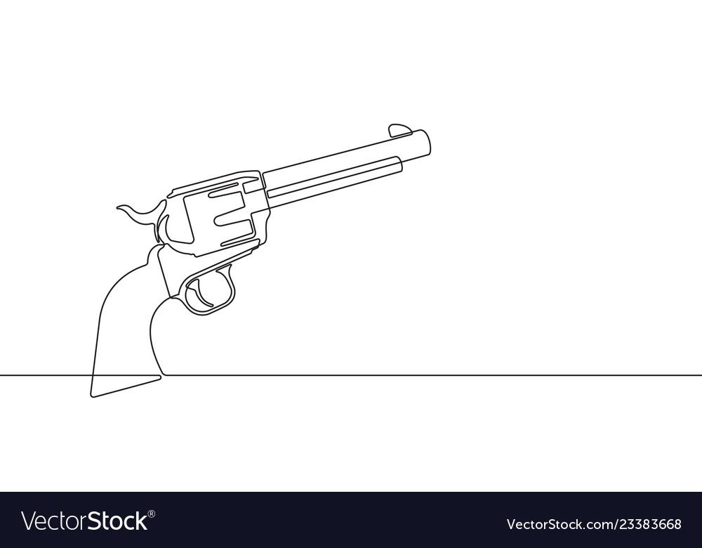 Pistol revolver continuous line graphic
