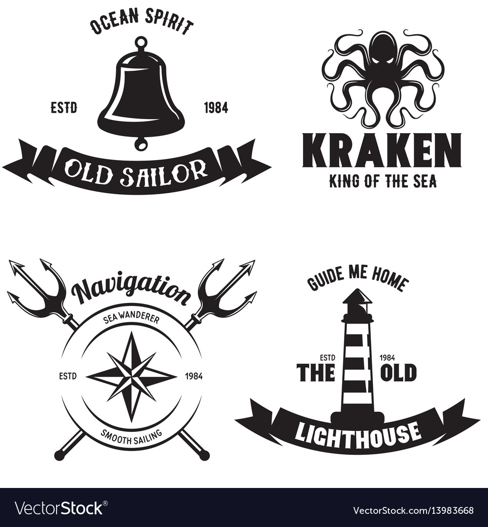 Set of sea and nautical decorations isolated on vector image