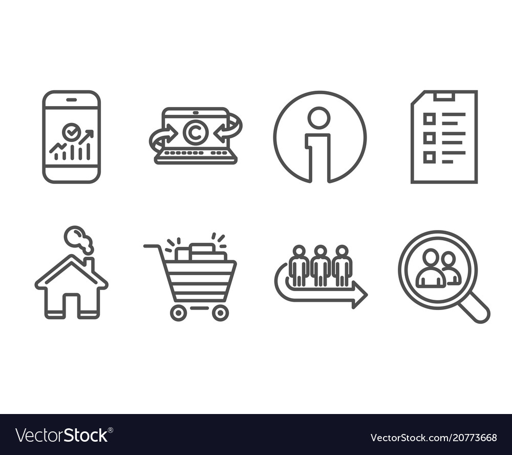 Shopping cart checklist and queue icons
