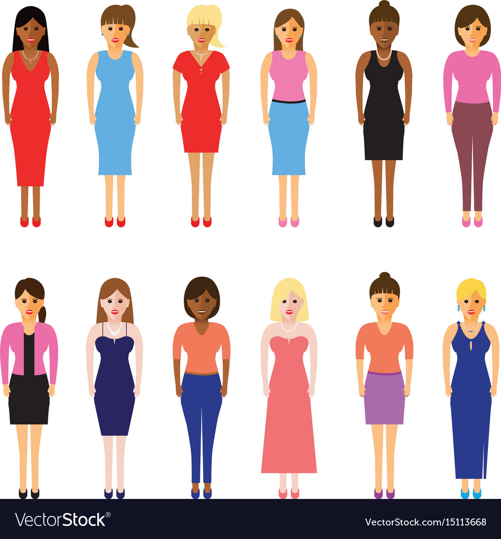 Women in a line vector image