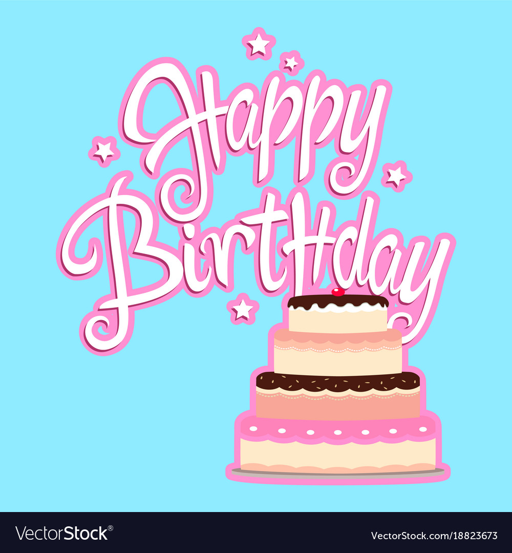 Birthday Greeting Card With Decorative Cake Vector Image