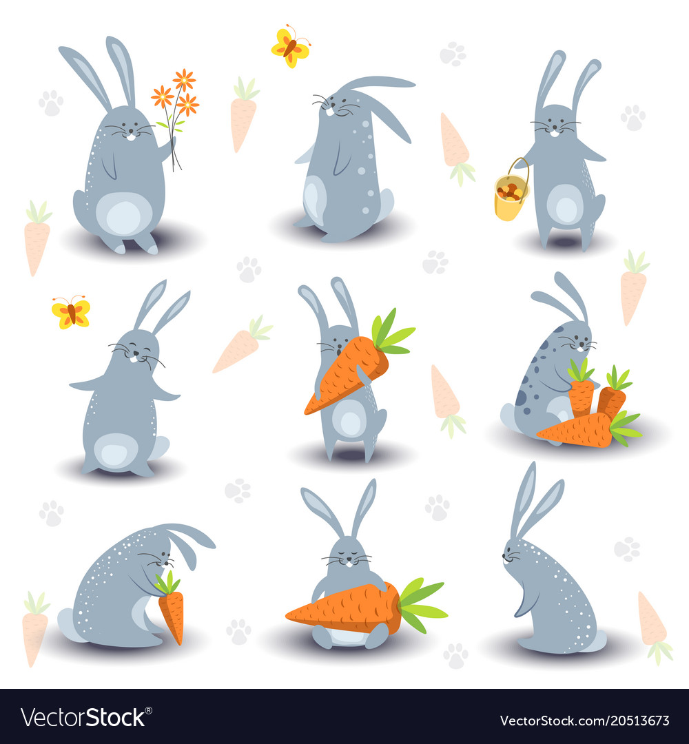 Cartoon bunny rabbit characters icons for