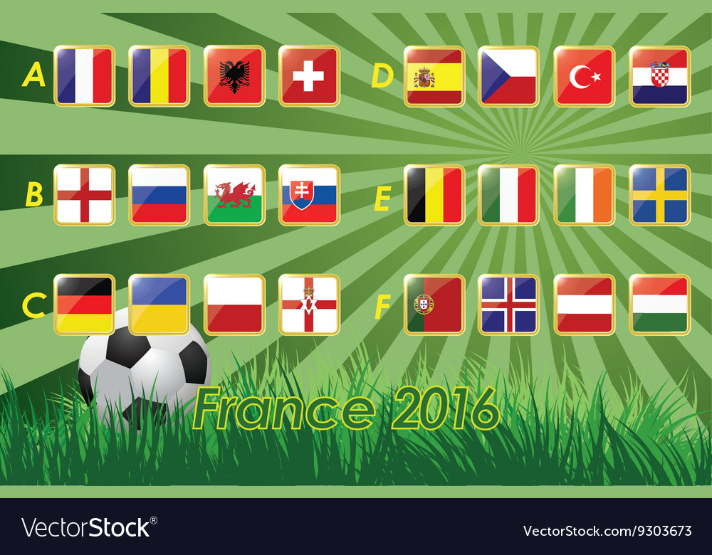 Flags of European football championship 2016