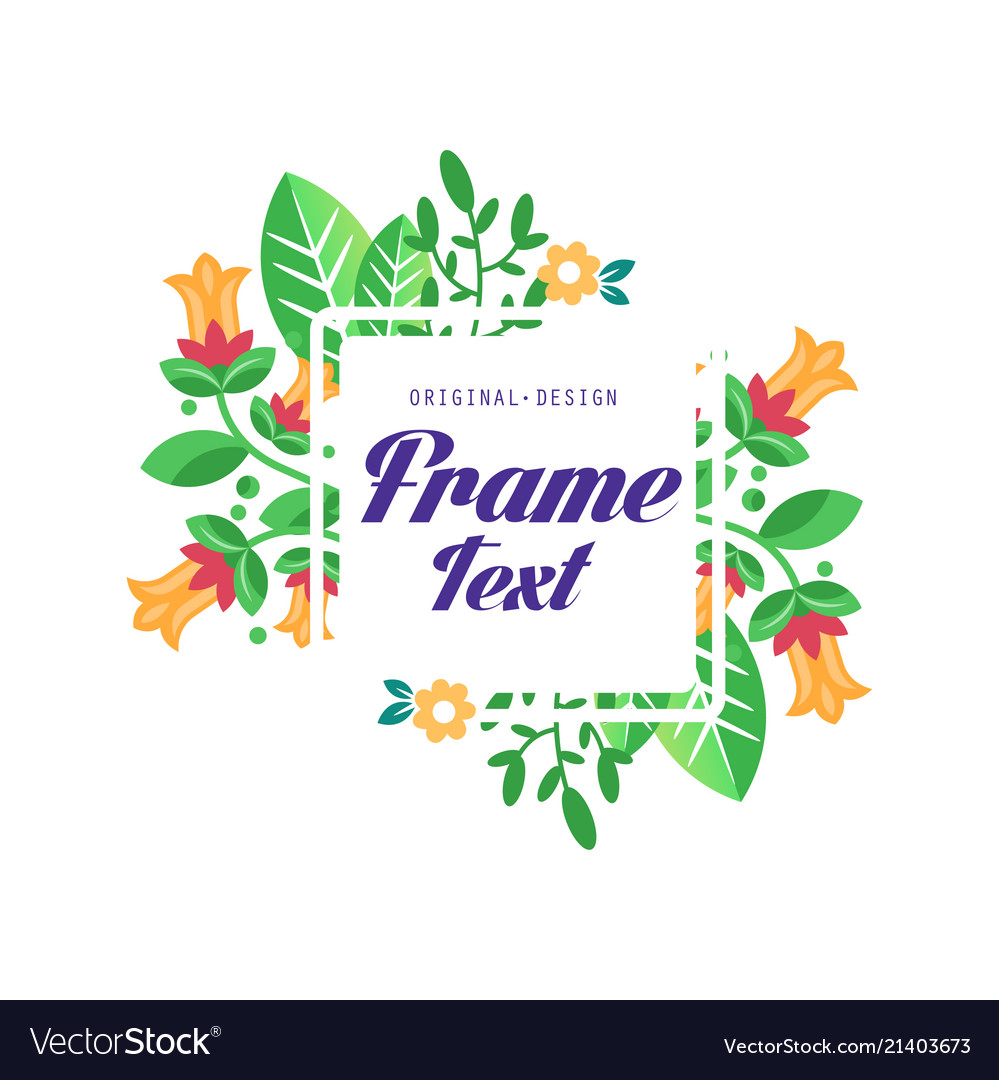 Floral logo with frame original design elegant