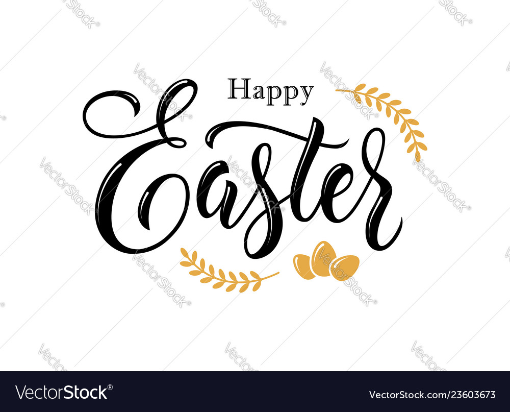Happy easter hand drawn lettering