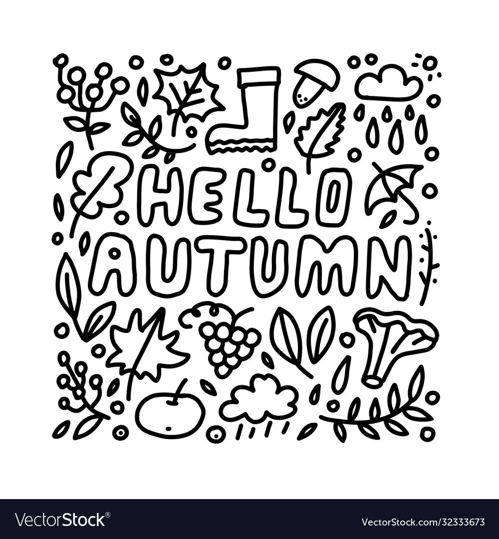 Hello autumn hand drawn lettering card