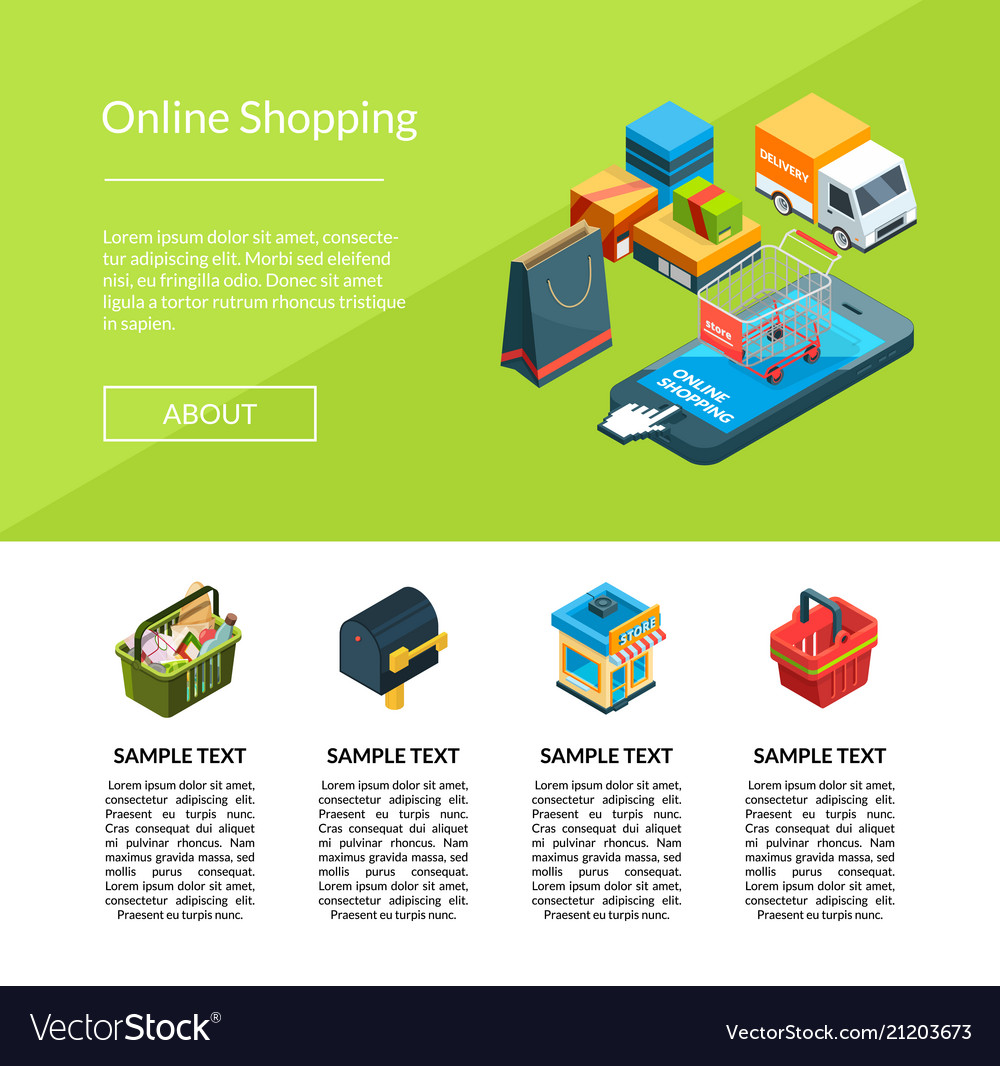 Isometric online shopping icons website