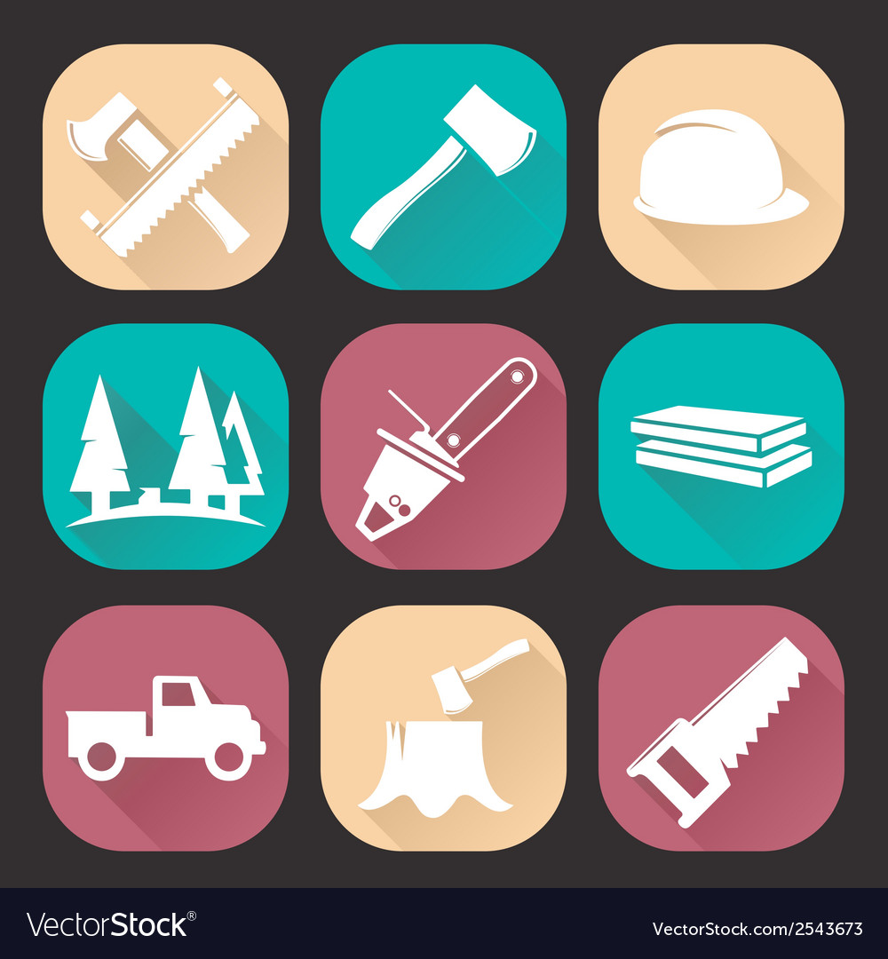 Lumberjack woodcutter icons set