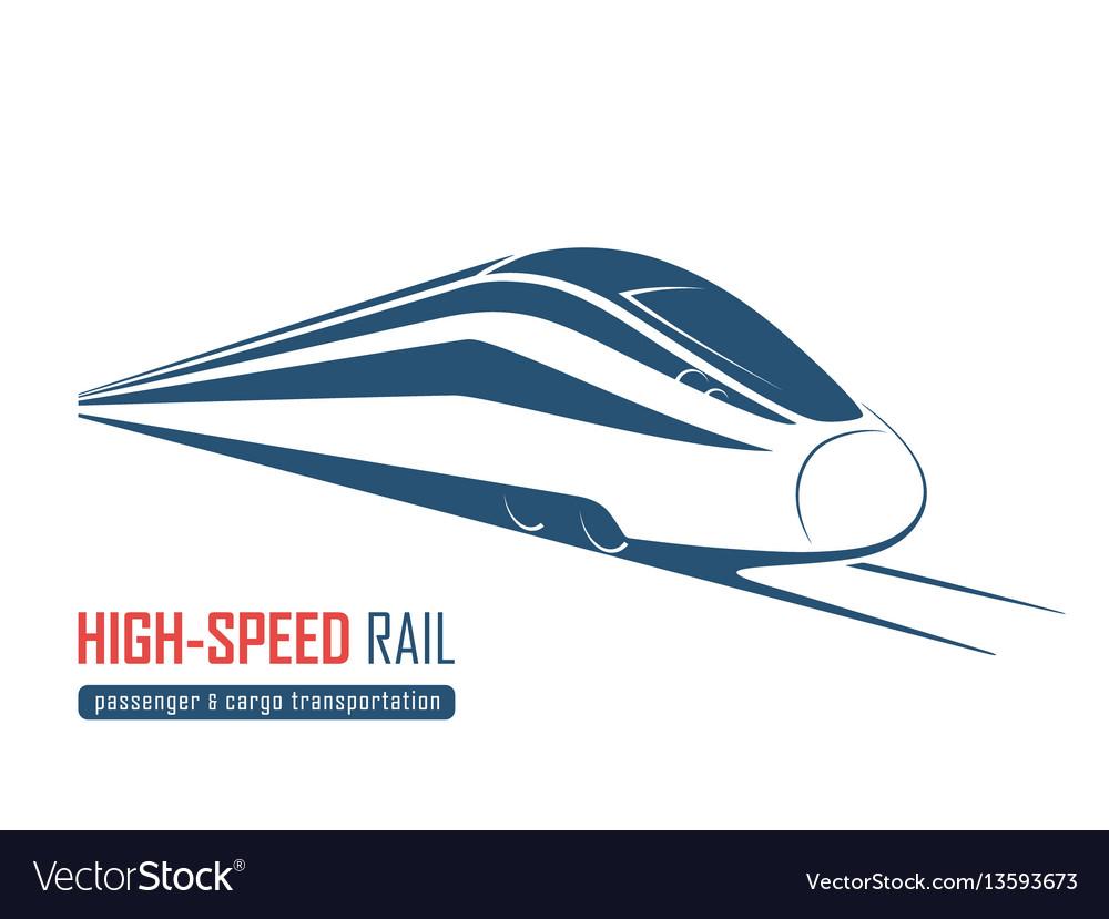 Modern high speed rail emblem icon label