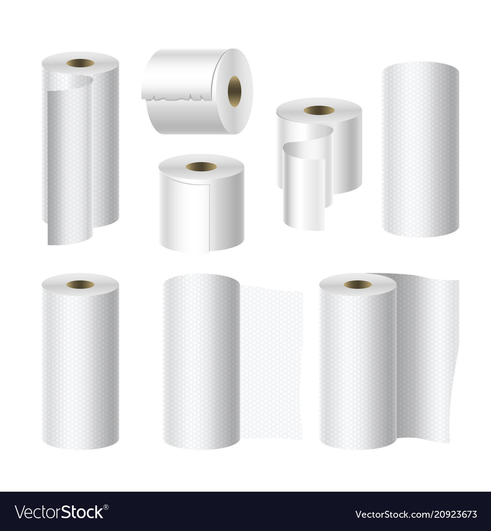 Realistic toilet and towel paper roll mock up set