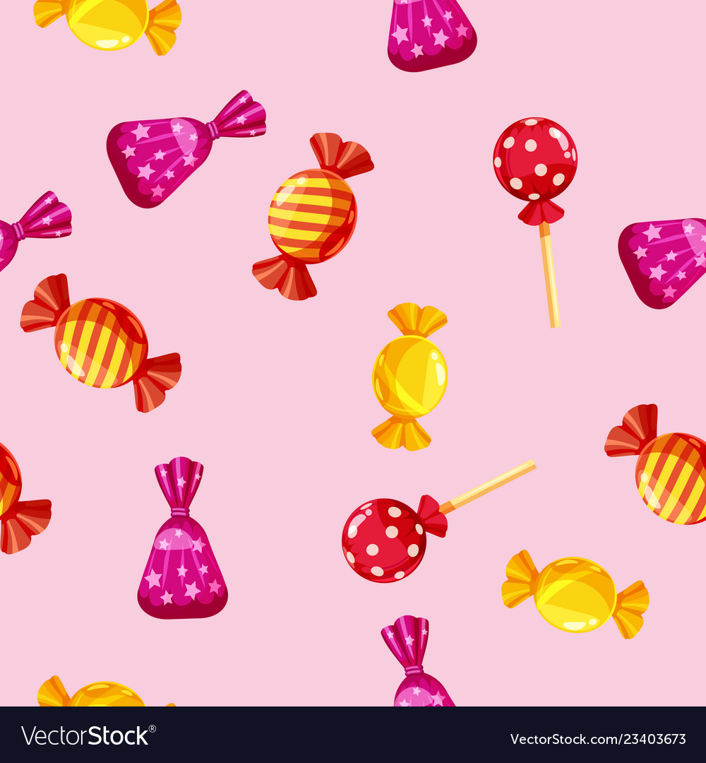 Seamless pattern of colored chocolates in a pack