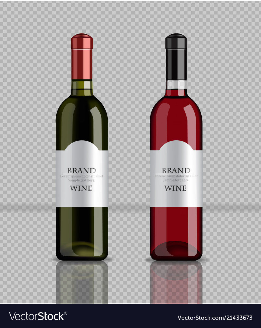 Wine bottles realistic product packaging