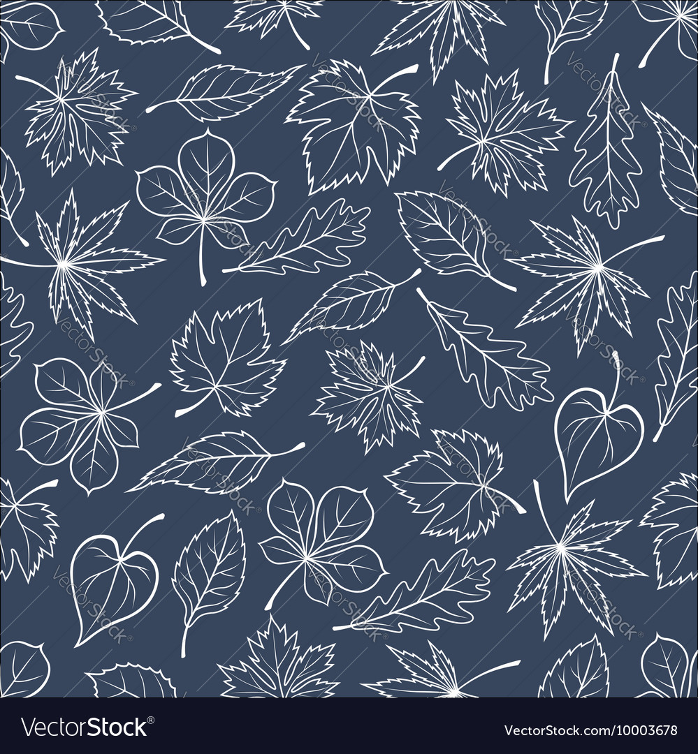 Autumnal leaves silhouettes seamless pattern
