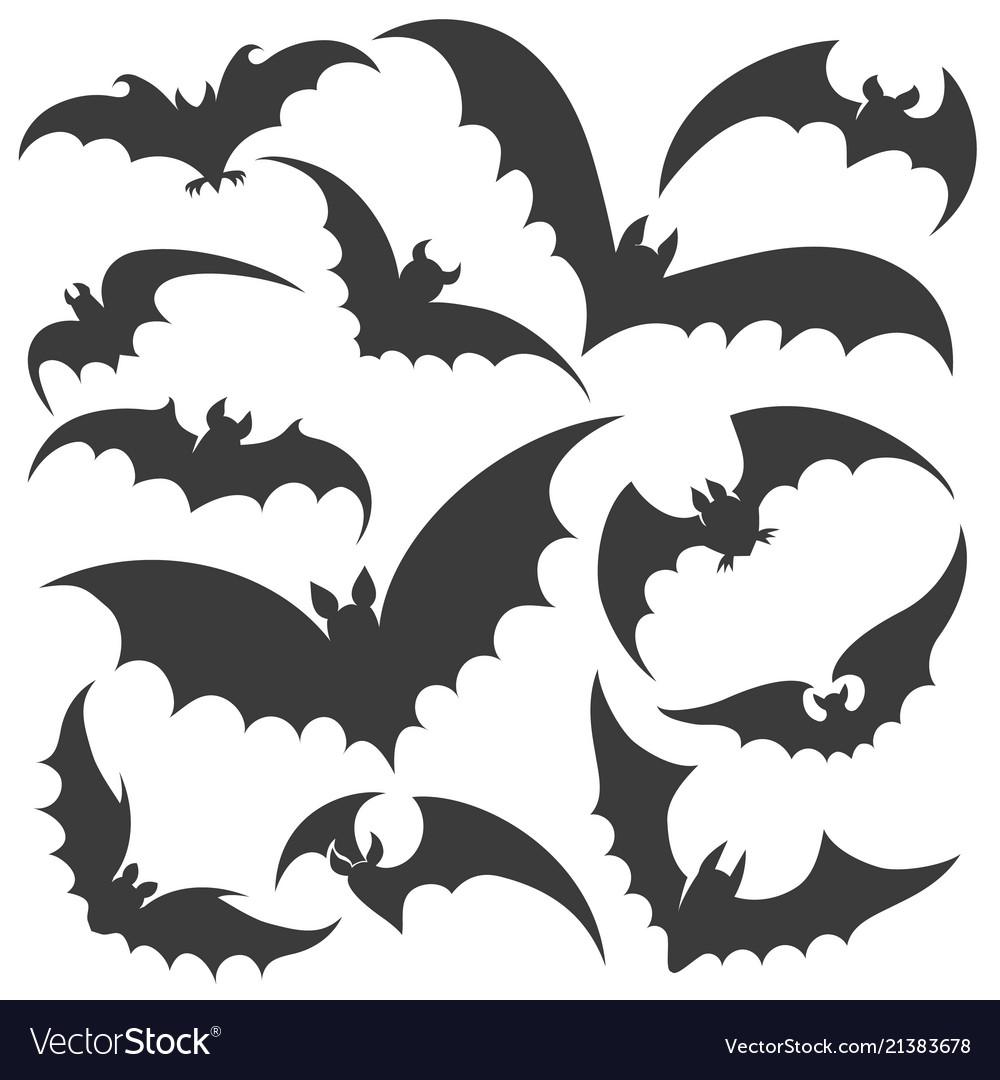 Bat silhouette set