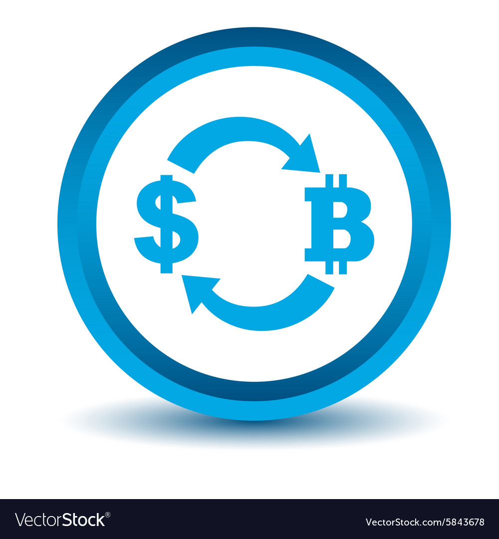 Dollar-bitcoin exchange icon blue 3D vector image