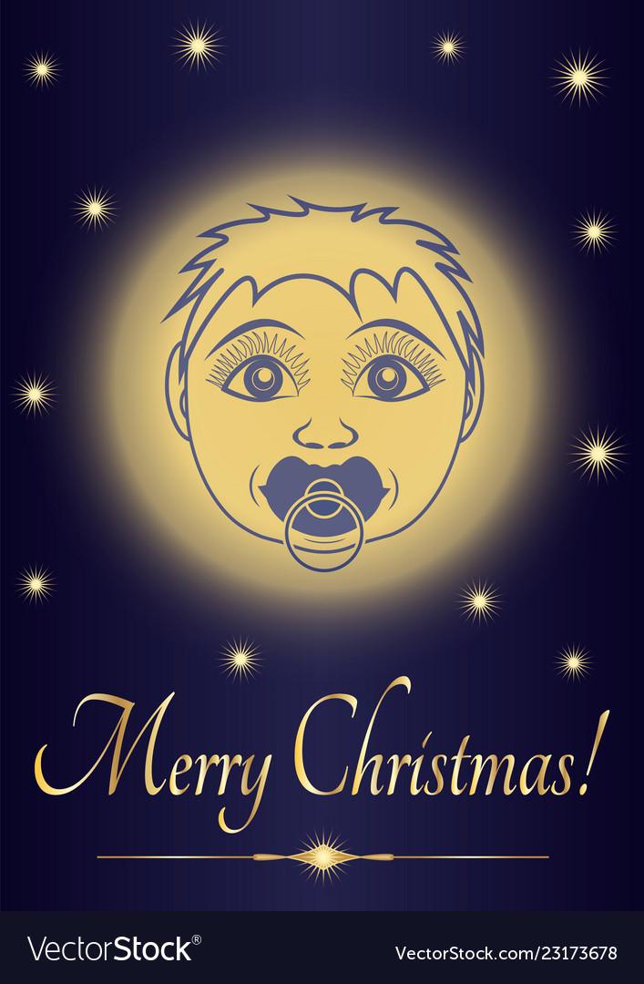 Merry Christmas Jesus.Greeting Card Merry Christmas Jesus Baby Face Of