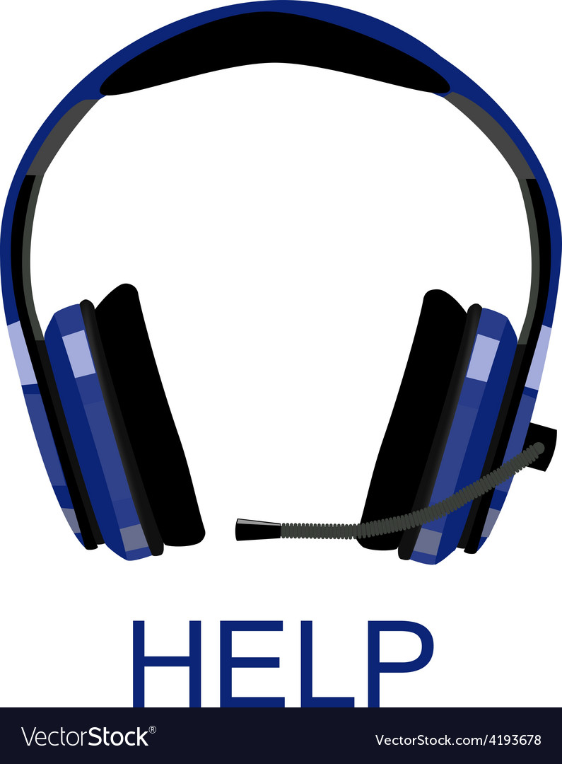 Headphones with text help vector image