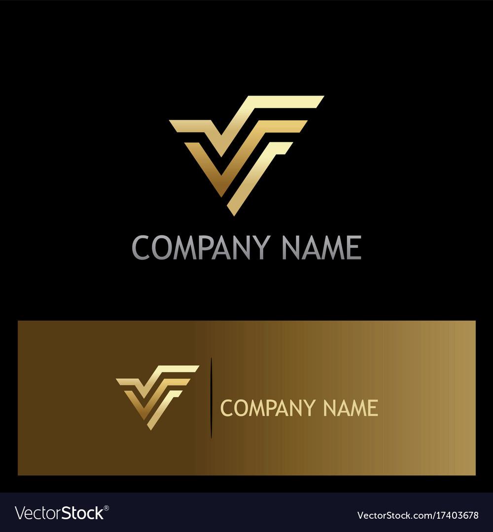 Letter v gold logo vector image